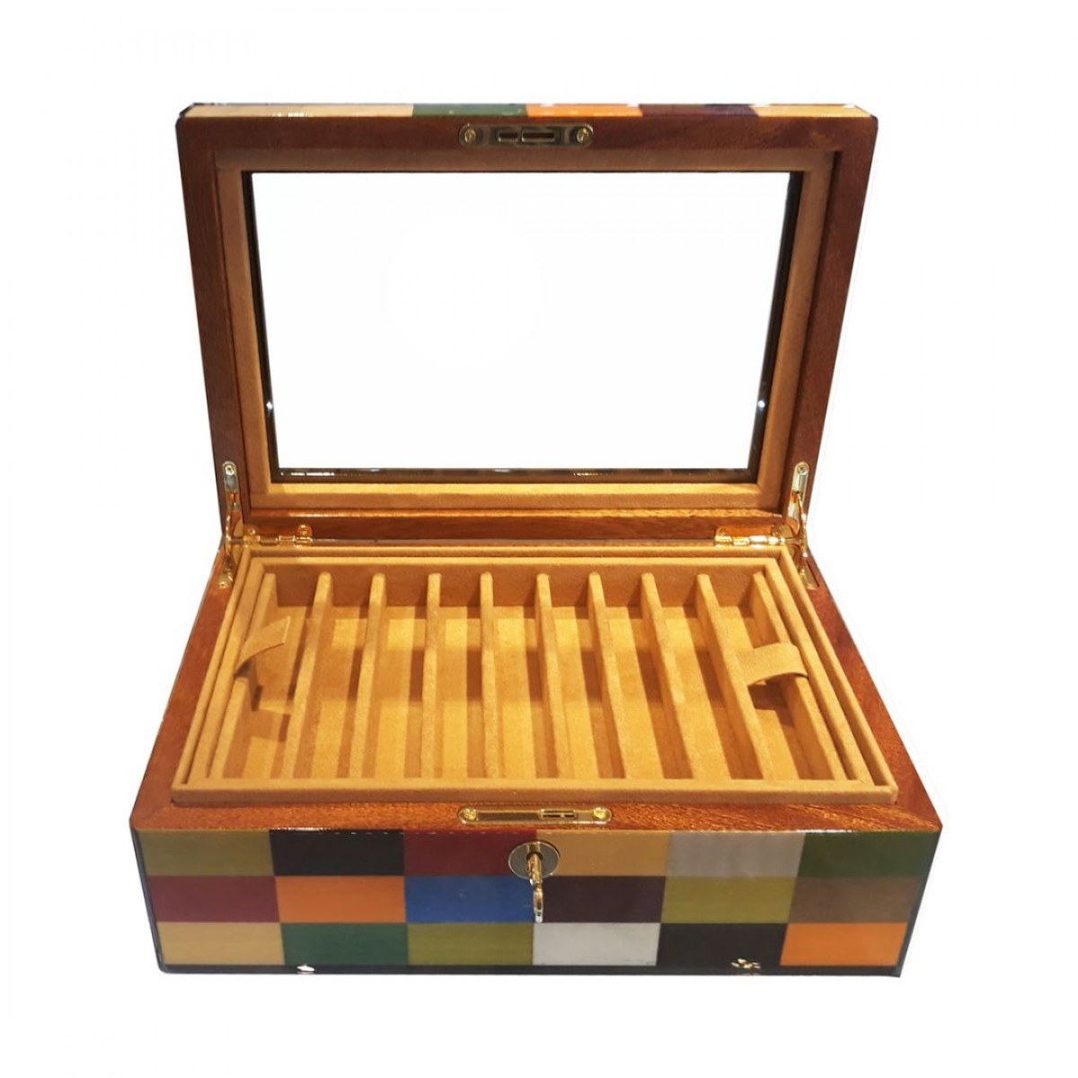 Pen Case - Rialto wood 18 seats - with glass