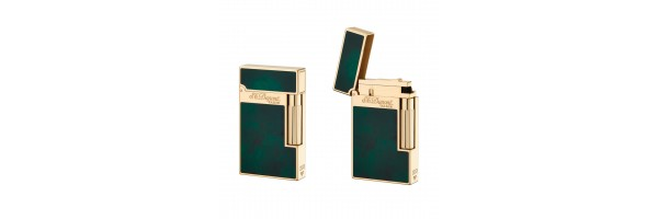 Dupont - 016259 - Atelier 2 Line Lighter - Green Laquer and Gold