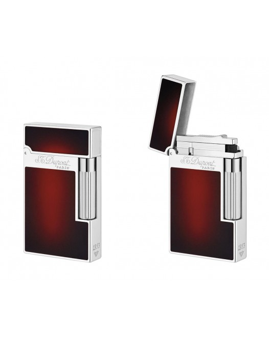 Dupont - 016302 - 2 Line Lighter - Red Laquer and Palladium