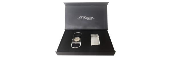 Dupont - Set Lighter Maxijet and Cigar Cutter - Chrome Grid