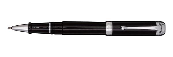 Aurora - Talentum - Glossy Black and Chrome - Big Rollerball Pen