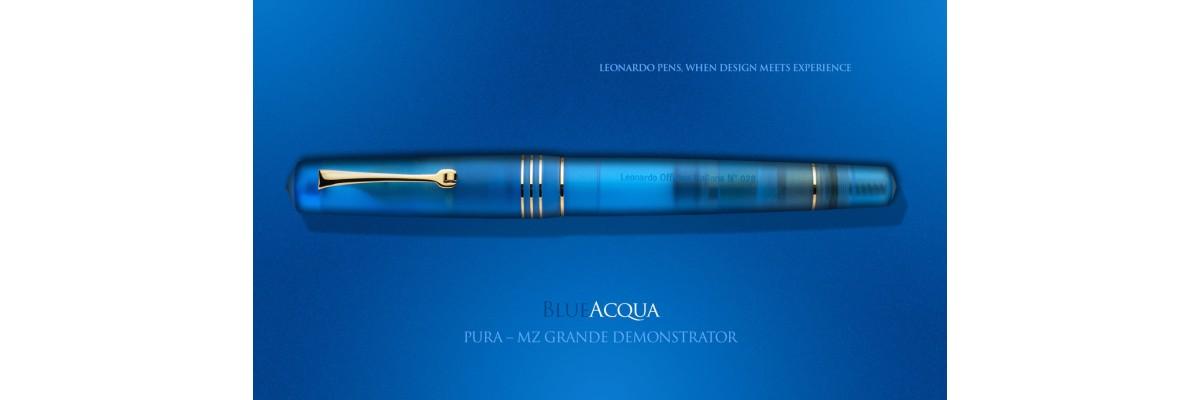 Leonardo Officina Italiana - Momento Zero Pura Gold Aqua Blue - Fountain pen - Gold plated nib