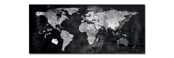 GL246 - Sigel - Magnetic Glass Boards - World Map - 130 x 55 cm