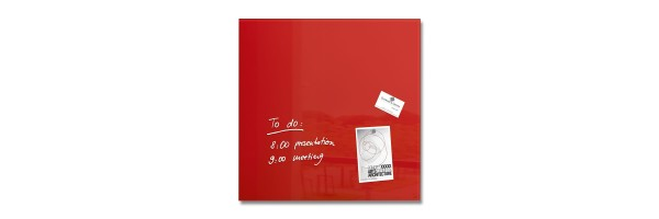 GL114 - Sigel - Magnetic Glass Board - Red - 48 x 48 x 1,5 cm