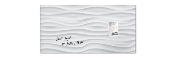 GL260 - Sigel - Magnetic Glass Board - White-Wave - 91 x 46 cm