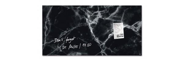 GL322- Sigel - Lavagna Magnetica - Black-Marble, 91 x 46 cm